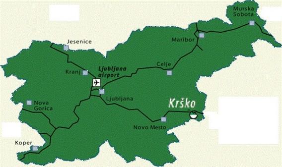АЭС Krsko на карте Словении
