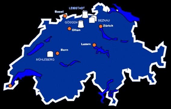АЭС Лейбштадт на карте Швейцарии