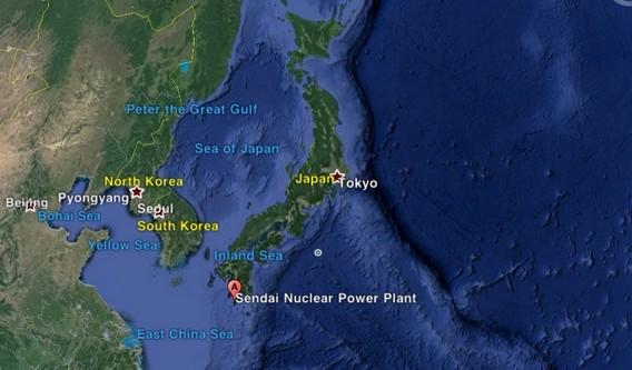 АЭС Сэндай на карте Японии