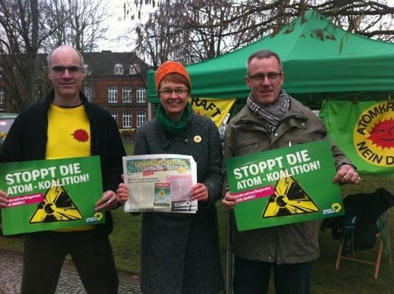 Активисты с плакатами и газетами против работы атомной электростанции Гронде