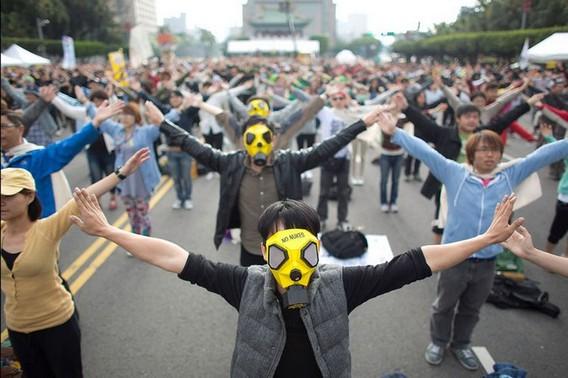 Акция жителей Тайваня против атомной энергетики