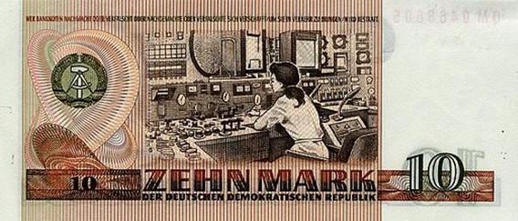 Банкнота ГДР - 10 марок. На банкноте изображён операторский пульт АЭС Райнсберг