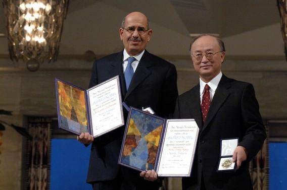 Эль Барадеи и Юкия Амано на вручении Нобелевской премии