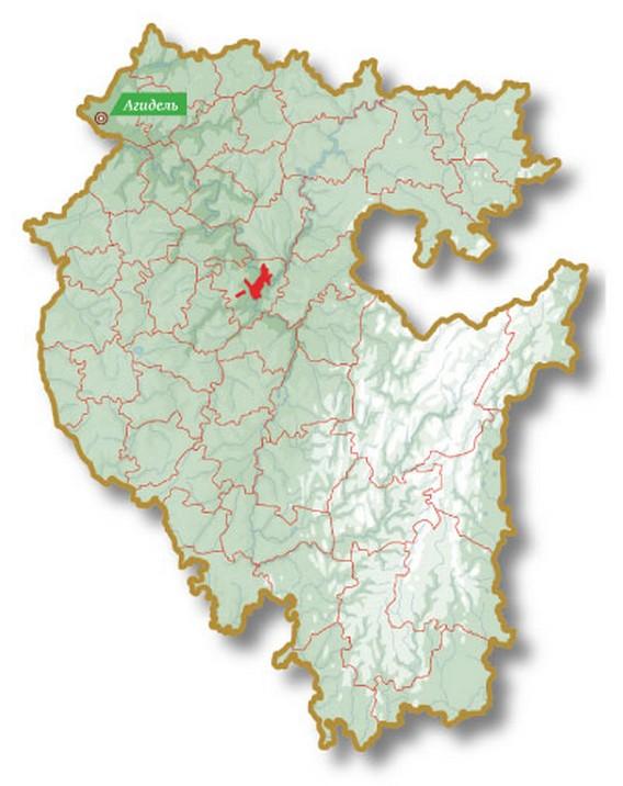 Город Агидель на карте - месторасположение Башкирской АЭС