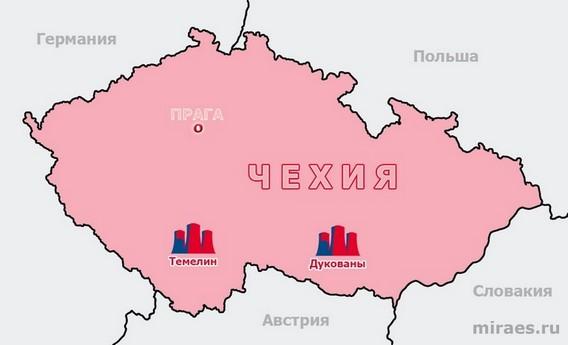 Карта АЭС Чехии