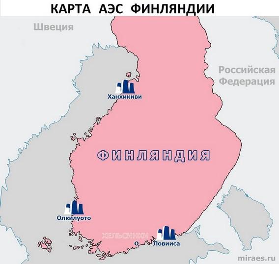 Карта АЭС Финляндии