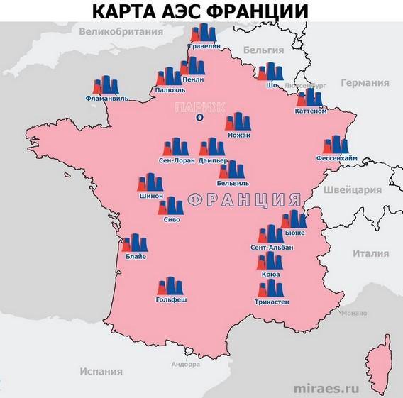 Карта АЭС Франции