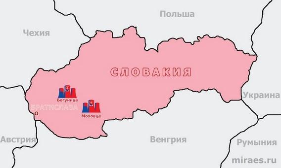 Карта АЭС Словакии