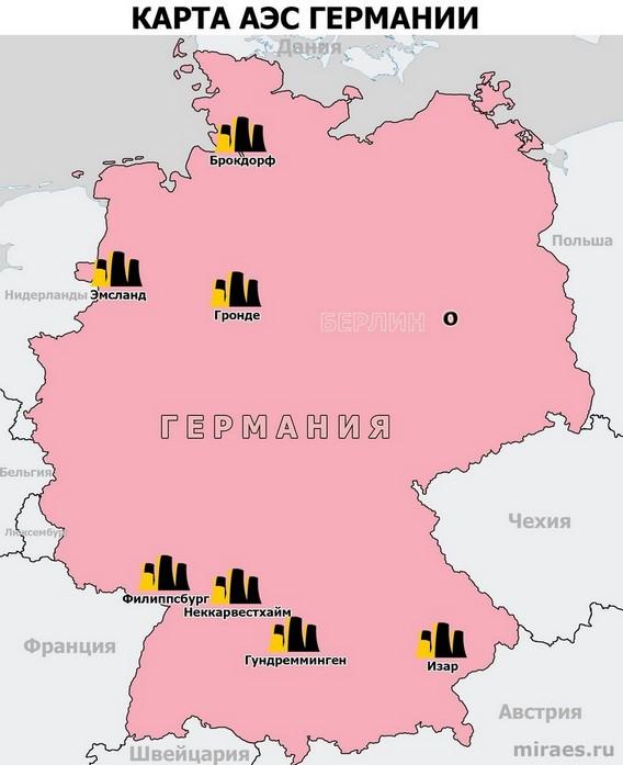 Карта АЭС Германии