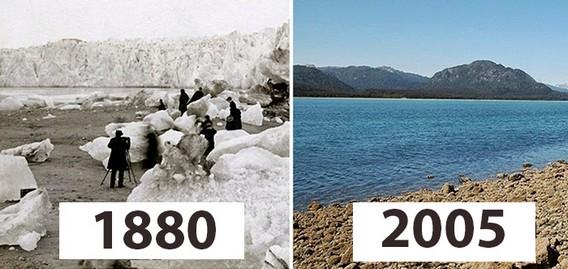 Ледники Арктики сто лет назад и сейчас сравнение на одной картинке