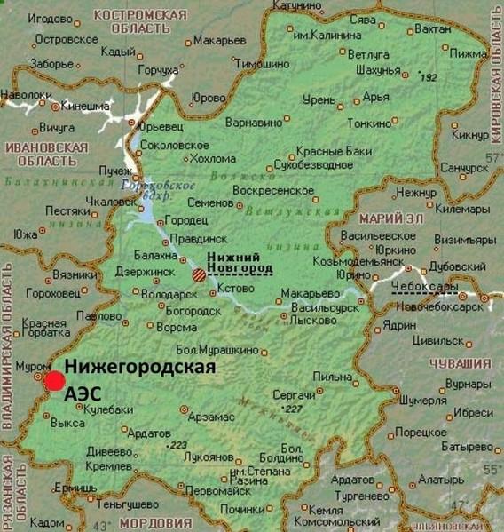 Нижегородская АЭС на карте