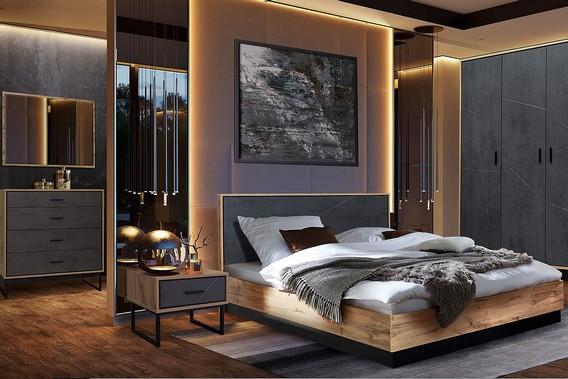 Спальная комната в светло коричневых и черных тонах