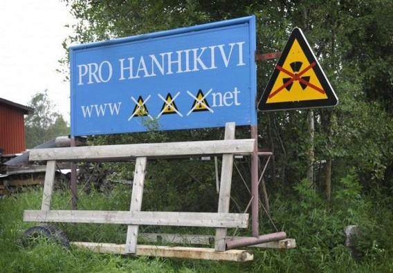 Стенд противников строительства АЭС Ханхикиви в Финляндии. Фото