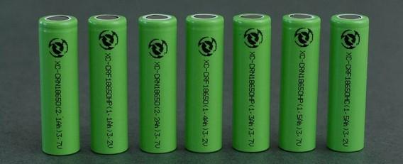 Зеленые литий-ионные батарейки стоят в ряд на столе